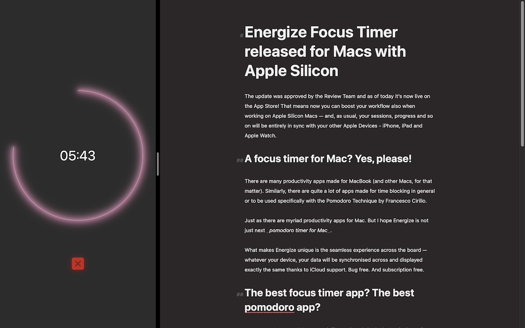 Energize Focus Timer Pomodoro app for Mac with night mode support
